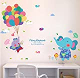 Boodecal Flying Elephant Wall Decals Hot Air Balloons Animal Vinyl Wall Stickers for Baby Nursery Bedroom Living Room 29×31 Inches