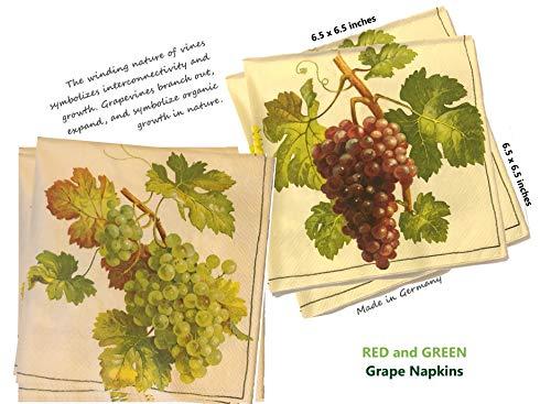 AVEVER Vintage Napkins | Decorative Paper Napkins | Decoupage Napkins | Decorative Napkins for Decoupage | Cocktail Napkins Wedding | Napkins for Decoupage | 6.5x6.5 in, 20 ct Grape Napkins Purple