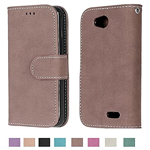 LG Optimus L90 Case, LG Optimus L90 Wallet Case TOMYOU Suede Leather Scratch-resistant Anti Slip Built in Card Slots Holder Kickstand Cover for LG Optimus L90 D415 (Lg Optimus L90 Cat Case)