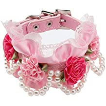 FONPOO ZFP014 Dog Cat Collar, Fashion Bling Dog Birthday Collar, Cute Leather Cat Collar with Flower& Bling, Charm for Small Medium Dogs Cats, Teacup Puppy Chihuahua Yorkie Girl, Adjustable Safety Buckle