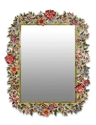 Jay Strongwater Leaf and Flower Adelaide Mirror in Jewel