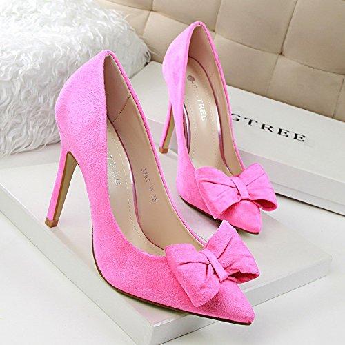 Xue Qiqi Wild sweet Bow Damen Tie High Heels Damen Bow Schuhe mit hohen Absätzen Licht - Satin hohe hingewiesen - verfolgte Schuh 34 Rot ab7436
