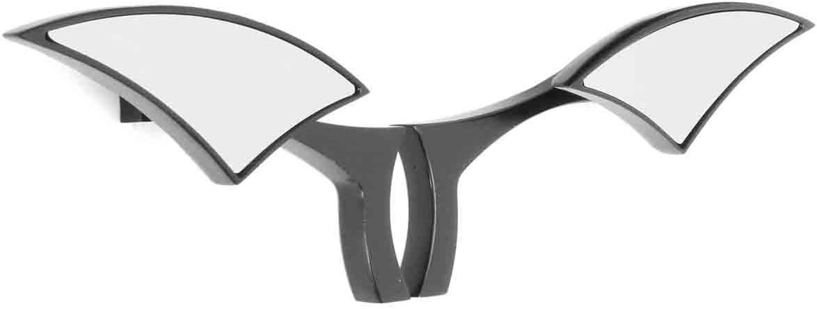 Wooya Coppia Moto Specchietti Retrovisori per Cruiser Harley Bobber Chopper in Alluminio Nero