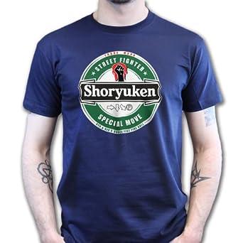 Shoryuken Beer Hadouken Ryu Ken Heineken T-shirt Navy Blue S