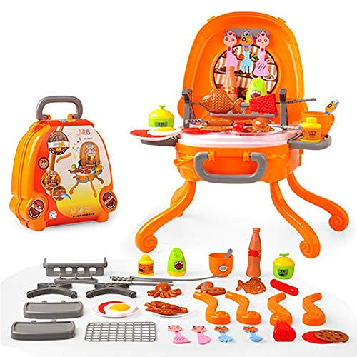 Toys Game Set for Kids Pretend Play Ice Cream Pizza BBQ Hamburger Food BBQ Hot Dog Fish Meat Cart Trolley Kitchen Cooking Set Toy With Music And Lighting For Kids And Girls Pretend Play Toys Toddler E -