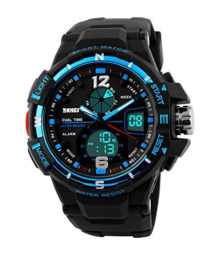 Mens Military Sports Analog Watch,Outdoor Sport Waterproof Digital Big Face Alarm Wrist Watches for Men