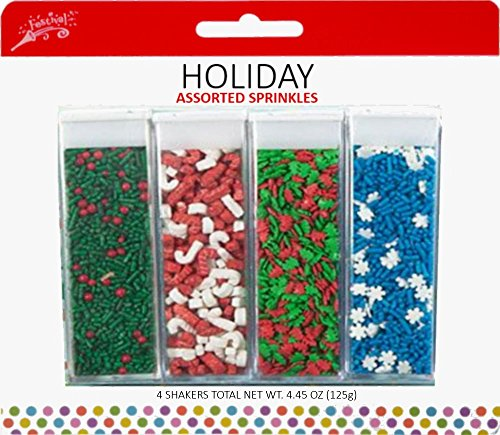 Festival Holiday Assorted Sprinkles, 4 Pack, 4.45 oz by Festival