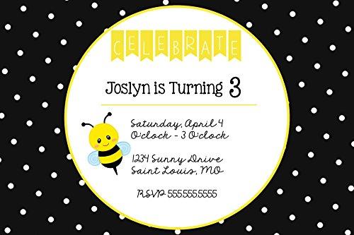 Polka Dots Birthday Party Invitations - The Melange Market Custom - Polka Dots & Bumble Bee Birthday Party Invitation