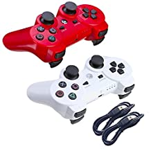 Okila Wireless Bluetooth Controller For PS3 Double Shock - Bundled with USB charge cord (Red and White)