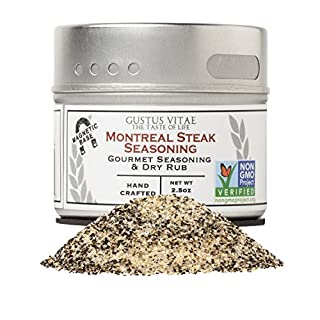 Montreal Steak Seasoning - Authentic Artisanal Gourmet Spice Blend - Non GMO - Packed In Magnetic Tins - Sustainable - Grown in USA - All Natural - Not Irradiated - Crafted By Gustus Vitae