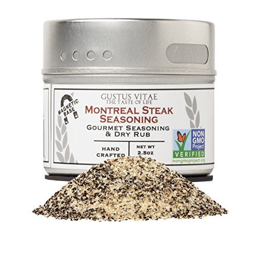 Montreal Steak Seasoning | Non GMO Project Verified | Packed In Magnetic Tins | Sustainable | Grown in USA | All Natural | Not Irradiated | Crafted By Gustus Vitae | 2.5 Oz Net Weight | 4 Oz Tin (Best Montreal Smoked Meat In Montreal)