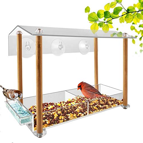 Feeder Window Tube (Bird feeder, strong large size with suction cups & seed tray, separate drinking-water sink & wood pillar support, weatherproof with shield roof & drain hole, outdoor acrylic bird house (12 inch))