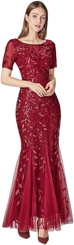 Beauty-Emily Womens Elegant Mermaid Short Sleeves Long Evening Dress