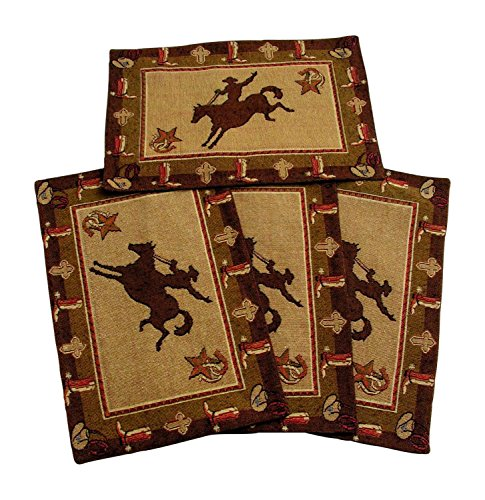 - Cowboy Bronco Placemats Set of 4 by RaaKha, Brown, 13x19 inches