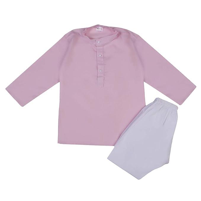 95ceb6e2d3 Littly Khadi Style Ethnic Wear Kids Cotton Kurta Pyjama Set for Baby Boys  (Baby Pink