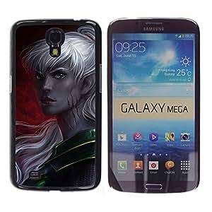 Slim Design Hard PC/Aluminum Shell Case Cover for Samsung Galaxy Mega 6.3 I9200 SGH-i527 elf grey woman fairytale game crimson / JUSTGO PHONE PROTECTOR