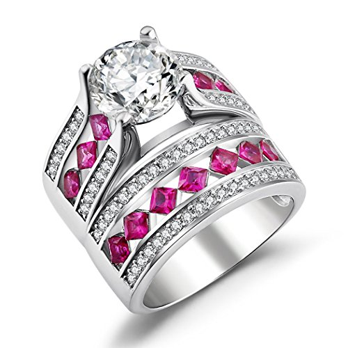 Princess Pink Sapphire Ring (Caperci Sterling Silver Cubic Zirconia Round Solitaire Ring with Princess-Cut Created Pink Sapphire Stones and Princess-Cut Wedding Band Ring Set Size 9)