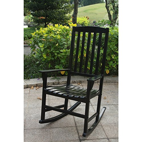 Alston Mahogany Black Porch Rocker