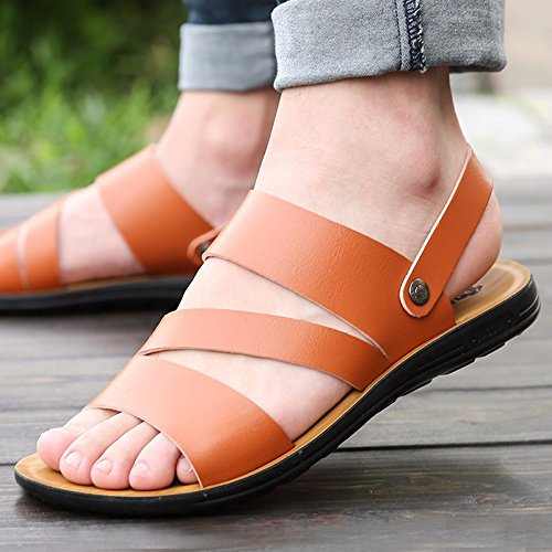 Il nuovo Uomini Tempo libero pelle sandali Spessore inferiore Uomini scarpa estate traspirante tendenza Spiaggia scarpa Uomini gioventù ,Marrone ,US=8.5,UK=8,EU=42,CN=43