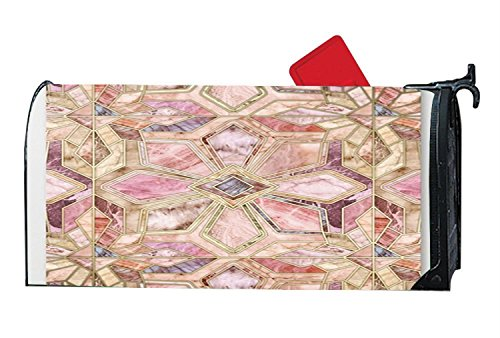 Geometric Gilded Stone Tiles In Blush Pink, Peach And Coral Personalized Mailwraps Not Easy To Fade Attractive Mailbox Makover Cover Garden Magnetic