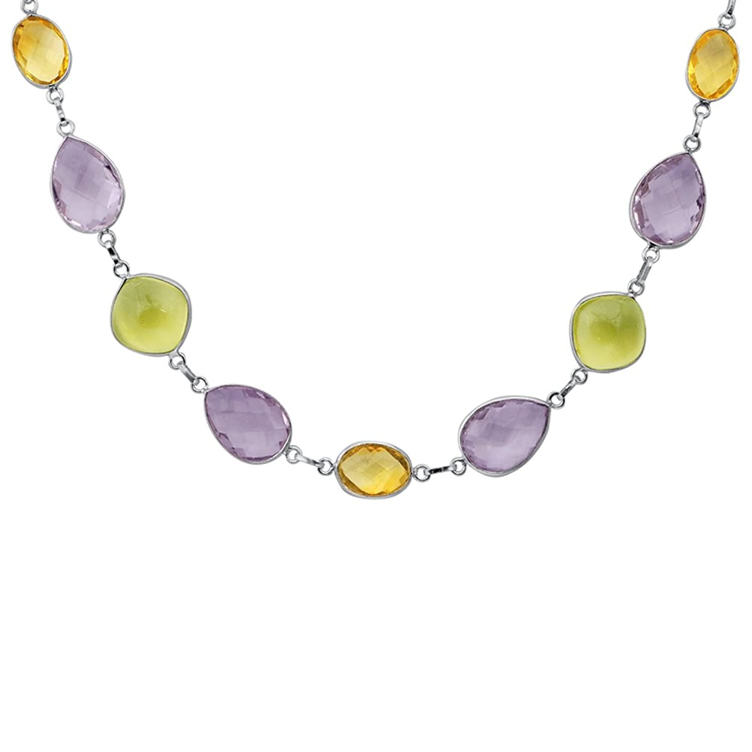95 Ct Citrine Amethyst Lemon Quartz Solid Sterling Natural Golden Orange 13ct Silver Statement Necklace Jewelry