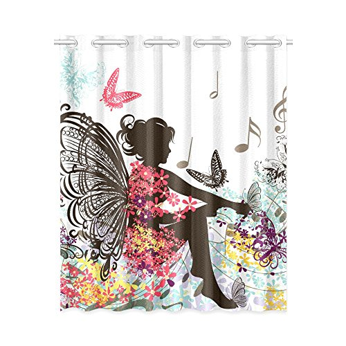 Fantasy Design Thermal Insulated Blackout Window Curtain Floral Fairy Print Drape 52x63 Inches