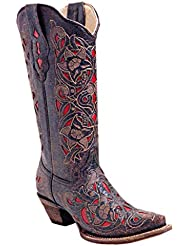 CORRAL Women's Laser Inlay Cowboy Boot Snip Toe - A1953