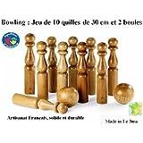 Jeu de bowling de 10 quilles de 30 cm + 2 boules en bois, artisanat Français