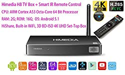 Luckymall 2015 100% NEW HIMEDIA H8 Octa Core 64 Bit Android 5.1 TV Box: ARM Cortex A53 CPU, 2GB RAM 16GB ROM HDMI 2.0, HiShare AirPlay Built-in WiFi TV Network Media Player, 3D BD-ISO 4K UHD TV Box