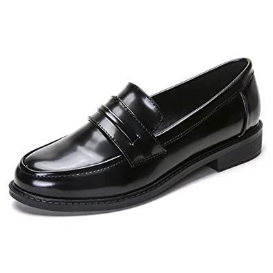 fd2c3cc38de Women s Classic Penny Loafers Comfort Casual Round Toe Low Heel Slip on  Oxfords Shoes Black