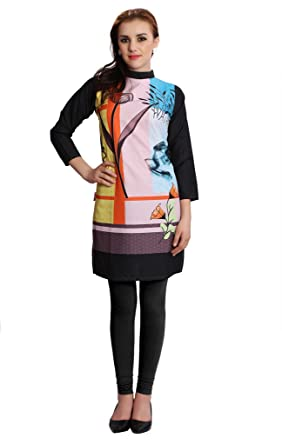 87b60de6f32 M.Tex Kurti For Women Multi Color Round Neck and 3 4th Sleeves Crepe Printed  Kurta (Pack of 1)  Amazon.in  Clothing   Accessories