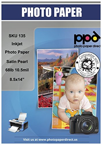 "PPD Inkjet Satin Pearl Luster Super Premium Photo Paper Legal 8.5 x 14"" 68lbs 255gsm 10.5mil X 50 Sheets (PPD135-50)"