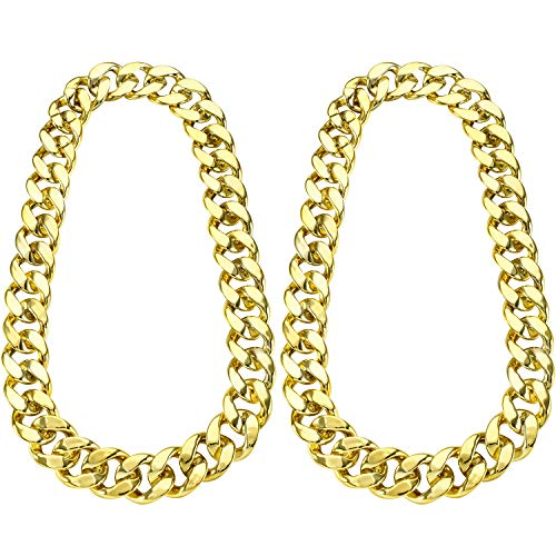2 Pieces Hip Hop Gold Chain 32 Inch Big Chunky Chain for Men, Faux Gold Chain Necklace for Costume Jewelry Rapper Punk Style (Chunky Necklace 2 Pieces)
