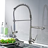 Fapully Commerical Pull Down Kitchen Faucet,Single Handle Kitchen Sink Faucet with Spring Sprayer, Brushed Nickel
