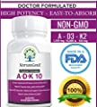 NatureGenx A.D.K 10 - Vitamin ADK 10000 iu ~ 90 Count -Bioavailable Vitamins A 5,000 IU D3 10,000 IU K2 (as MK-7) 500 mcg | High Potency Supplement for Heart, Bone & Immunity Support, Non-GMO, No Soy
