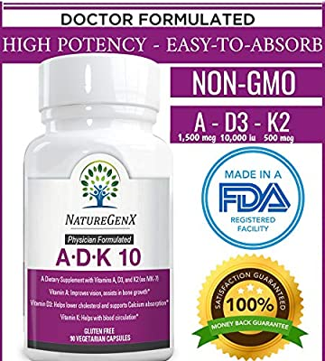 NatureGenx A.D.K 10 - Vitamin ADK 10000 iu ~ 90 Count -Bioavailable Vitamins A 5,000 IU D3 10,000 IU K2 (as MK-7) 500 mcg | High Potency Supplement for Heart, Bone & Immunity Support, Non-GMO, No Soy