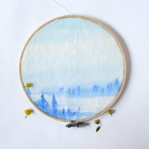 """""""Forest Song"""" Morning Fog. - Original Chinese Paintings on Rice Paper - Framed on Embroidery Hoop from IGREANpainting"""