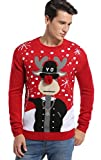 Image of Daisyboutique Men's Christmas Reindeer Sweater Cute Ugly Pullover (X Large, Reindeer3Dnose+Shades)