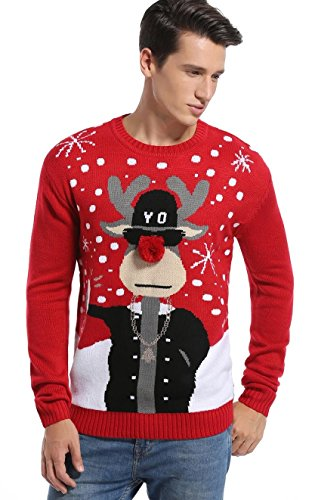 *daisysboutique* Daisyboutique Men's Christmas Reindeer Sweater Cute Ugly Pullover (X Large, Reindeer3Dnose+Shades)