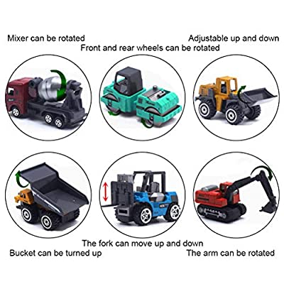 Odowalker Construction Trucks Toys 6pcs Colorful Mini Assorted Construction Vehicles Alloy Diecast Car Sand Box Toys Excavator Cement Dumper Bulldozer Forklift for Kids Toddlers Boys Child: Toys & Games