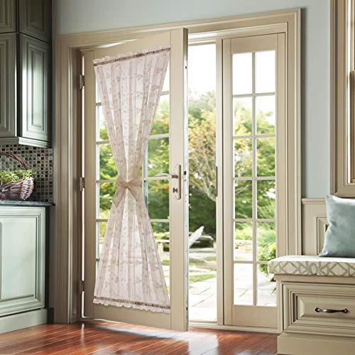 Lazzzy Taupe French Door Panel Curtains Floral Embroidered Sheer French Door Curtain Rod Pocket 1 Tie Back Included 1 Piece 72 Inch Long (For Window Doors Panels French)