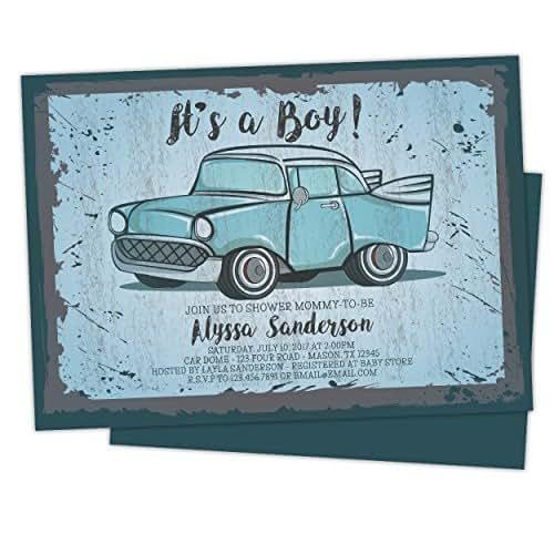Amazon.com: Vintage Car Baby Shower Invitations Retro Boy
