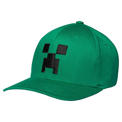 Baseball Player 3 Embroidery - JINX Minecraft Creeper Face Adult Flexfit Baseball Hat (Kelly Green, L/XL)