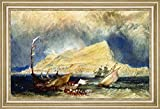 "The Rock of Gibraltar, with Shipping in the Foreground by Joseph Mallord William Turner - 19"" x 28"" Framed Premium Canvas Print"