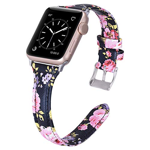 Karei Leather Bands Compatible with Apple Watch Band 42mm 44mm, Retro Top Grain Genuine Leather Replacement Strap with Stainless Steel Clasp for iWatch Series 4 3 2 1, Sport, Edition