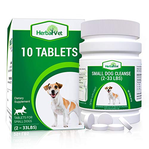 HerbalVet Natural Dog Dewormer Alternative for Small Dogs Under 33 pounds | 10 Tablets, Works for Puppies, Intestine Cleanse| Helpful E-Book Included