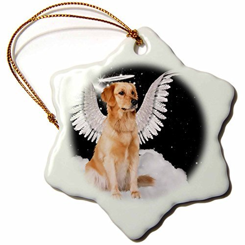 Wild Bramble 3-Inch Porcelain Snowflake Decorative Hanging Ornament, Golden Retriever Angel Dog Sitting On A Cloud With A Cute Halo And Angel Wings