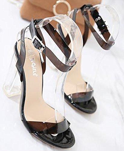 Cheville Bride Aisun Bout Noir Confort Femme Sandales Ouvert 1wB7qRX