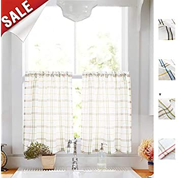 Amazon Com White Tier Curtains For Kitchen Red And Taupe