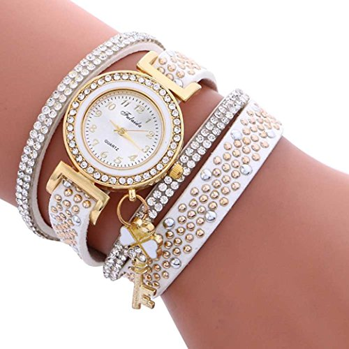 Anxinke Ladies Metal Decorative Circle Wrap Around Rhinestone Analog Quartz Bracelet Watches (White) (Link Bracelet Circle Watch)